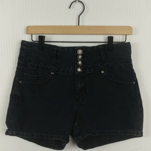 Pants - Silver Crush Black Jean High Waisted Shorts